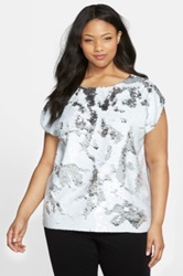 Vince Camuto Sequin Front Blouse Plus Size White