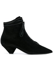 Saint Laurent Blaze Studded And Laced Ankle Boots Black