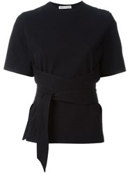 Each X Other Belted Wrap Shortsleeved Top Black