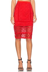 Greylin Melrose Lace Pencil Skirt Red
