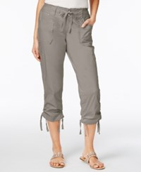 Inc International Concepts Ruffled Waist Cropped Cargo Pants Only At Macy's Sky Grey
