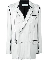 Julien David Exposed Seam Blazer White