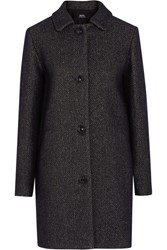 A.P.C. Atelier De Production Et De Creation Rooney Metallic Wool Blend Coat Midnight Blue
