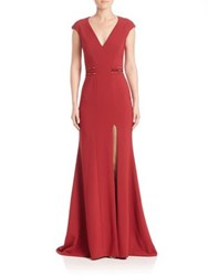 Pamella Roland Embroidered Stretch Crepe Gown Ruby
