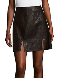 1.State Notched Faux Leather A Line Skirt Black