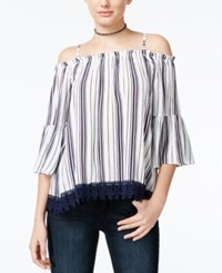 Almost Famous Crave Fame Juniors' Lace Trim Off The Shoulder Top Navy White