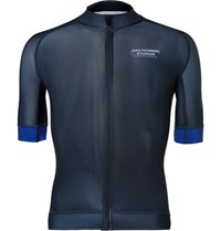 Pas Normal Studios Mechanism Perforated Zip Up Cycling Jersey Navy