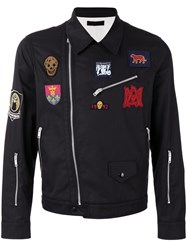 Alexander Mcqueen Embroidered Biker Jacket Black