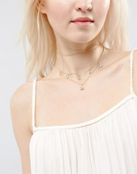 Asos Multirow Crystal Layered Choker Necklace Crystal Clear