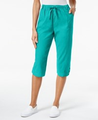 Karen Scott Petite Cotton Drawstring Capri Pants Only At Macy's Crisp Teal