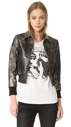 R 13 Berlin Leather Jacket Silver