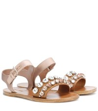 Miu Miu Embellished Leather And Satin Sandals Brown