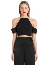 Cameo Crop Halter Top W Open Shoulders