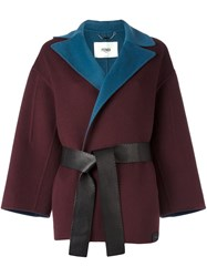 Fendi Belted Wrap Coat Pink And Purple