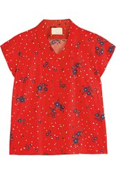 Band Of Outsiders Printed Seersucker Cotton Top Red