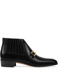 Gucci Leather Ankle Boot With G Brogue Black