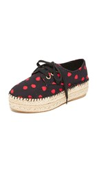 Alice Olivia Rory Espadrille Platform Sneakers Black Red Abstract Dot