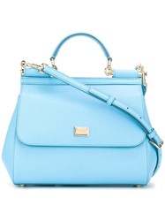 Dolce And Gabbana Medium Sicily Tote Blue