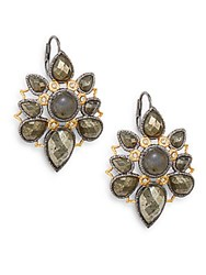 Alexis Bittar Pyrite Labradorite And Swarovski Crystal Mosaic Drop Earrings Silver Gold