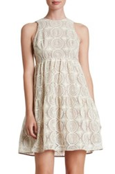 Dress The Population Stephanie Crocheted Lace Babydoll Beige