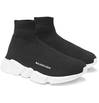 Balenciaga Speed Low Sock Stretch Knit Sneakers Black
