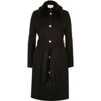 River Island Womens Black Belted Military Coat