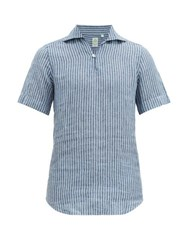 Finamore 1925 Palma Notch Neck Striped Linen Poplin Shirt Blue Multi