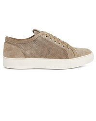 Armani Collezioni Grey Perforated Suede Sneakers