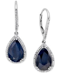 Macy's Black Sapphire 12 Ct. T.W. And White Topaz 1 2 Ct. T.W. Drop Earrings In Sterling Silver