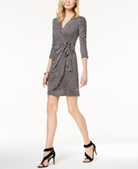 Inc International Concepts Petite Dot Print Faux Wrap Dress Created For Macy's Dotted Swirl Black