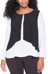 Plus Size Women's Eloquii Contrast Overlay Blouse