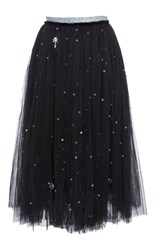 Anouki Crystal Embroidered Tulle Skirt Black