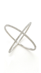 Ef Collection Pave Gold Diamond X Ring White Gold Clear