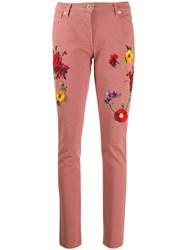 Blumarine Floral Embroidered Skinny Jeans Pink