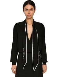 Givenchy Silk Crepe De Chine Shirt W Logo Bow Black