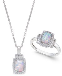 Macy's Lab Created Opal 5 8 Ct. T.W. And White Sapphire 5 8 Ct. T.W. Pendant Necklace And Matching Ring Set In Sterling Silver