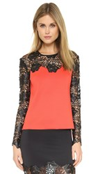 Clover Canyon Lace Long Sleeve Top Red White