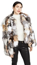 Jocelyn Natural Multi Silver Fox Chubby Jacket