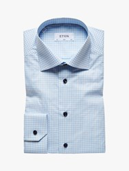 Eton Poplin Check Slim Fit Shirt Blue