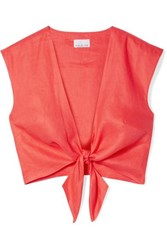 Miguelina Marcy Cropped Tie Front Linen Top Tomato Red