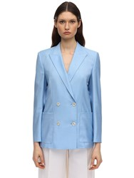 Agnona Double Breasted Wool Jacket Blue