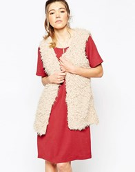 Ichi Faux Fur Gilet Off White