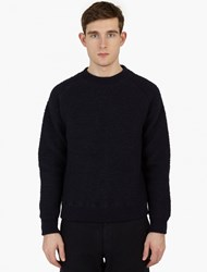 Our Legacy Navy Wool Blend Textured Sweatshirt
