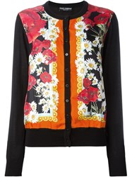 Dolce And Gabbana Daisy And Poppy Print Cardigan Black