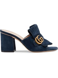 Gucci Suede Mid Heel Slide With Double G Blue