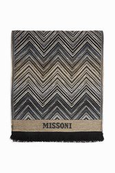 Missoni Women S Wool Chevron Logo Scarf Boutique1 Blue