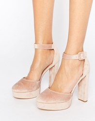 New Look Velvet Two Part Platform Heeled Shoes Light Pink
