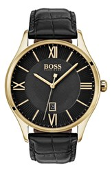 Boss Governor Leather Strap Watch 44Mm Black Black