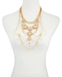 Guess Gold Tone Multi Stone Statement Necklace 18 1 Extender