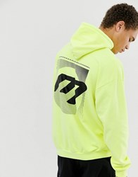 Mennace Hoodie In Neon With Back Print Yellow